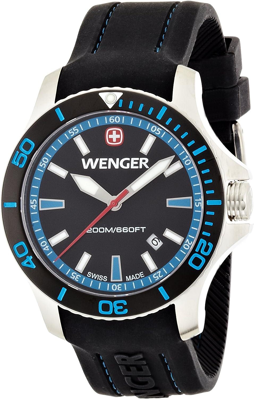 Wenger Reloj Analógico para Hombre de Cuarzo con Correa en Silicona 01.0641.104