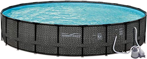 Summer Waves 24ft x 52in Elite Wicker Round Above Ground Frame Outdoor Swimming Pool Set with Sand Filter Pump, Pool Cover, Ladder, Ground Cloth, and Deluxe Maintenance Kit