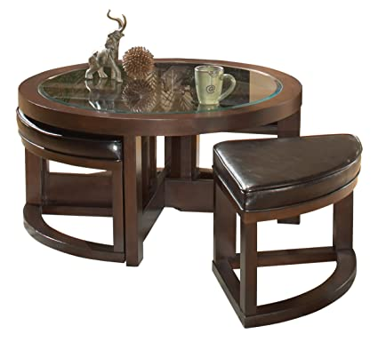 Charmant Homelegance Brussel Round Cocktail Table With Ottomans, Espresso
