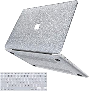"""MacBook Air 13 inch Case,Anban Glitter Bling Smooth Protective Laptop Shell Slim Snap On Case with Keyboard Cover Compatible MacBook Air 13"""" (A1369 & A1466),Shining Sliver"""