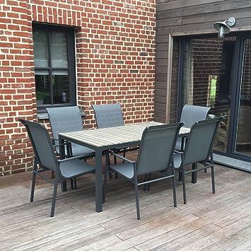 Salon de jardin en aluminium, polywood et textilène, table + 6 ...