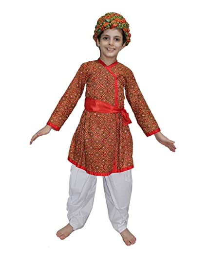 a55bf83301 Buy KAKU FANCY DRESSES Boy's Cotton Rajasthani Indian State Traditional Wear  Costume (Kfd173.2, Multicolour, 5-6 Years) Online at Low Prices in India ...