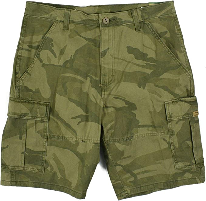 Wrangler Forest Green Camo at The Knee Cargo Shorts