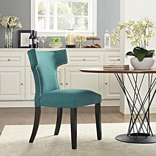 Modway MO-EEI-2221-TEA Curve Mid-Century Modern Upholstered Fabric with Nailhead Trim, One Chair, Teal