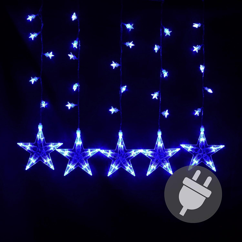 Nipach GmbH Sternenvorhang 100 LED blau Lichterkette Lichtervorhang ...