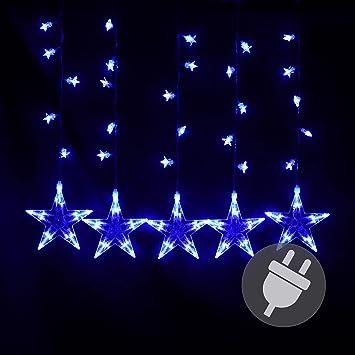 Blaue Weihnachtsbeleuchtung.Nipach Gmbh Sternenvorhang 100 Led Leuchtfarbe Blau Lichterkette Lichtervorhang Stern Trafo Weihnachtsdeko Partydeko Weihnachtsbeleuchtung Innen Xmas