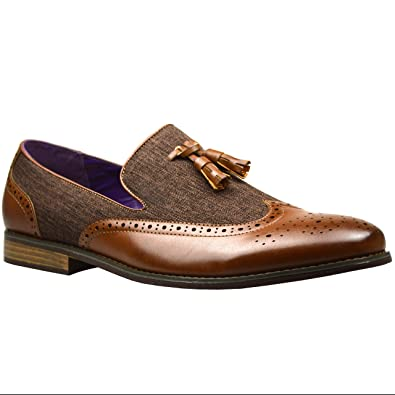 4ca315fea2546 Mens Shoes Tasseled Loafers Faux Leather Brogue Wedding Dress Party Work  Formal