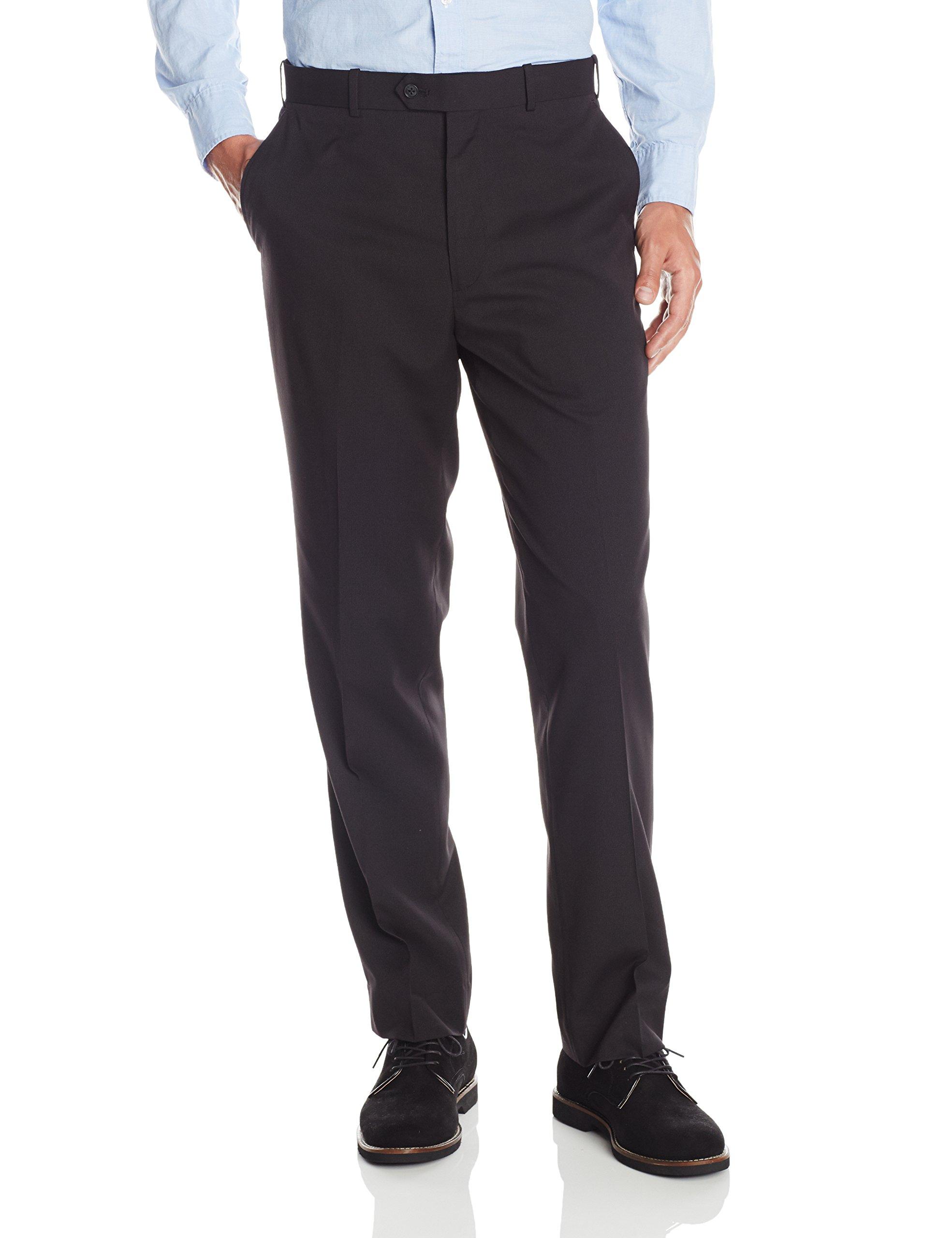 U.S. Polo Assn. Men's Flat Front Pant, Black Stripe, 36W x 30L