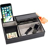 Mantello Valet Tray Nightstand Organizer Leather 5 Compartments, Black, Small