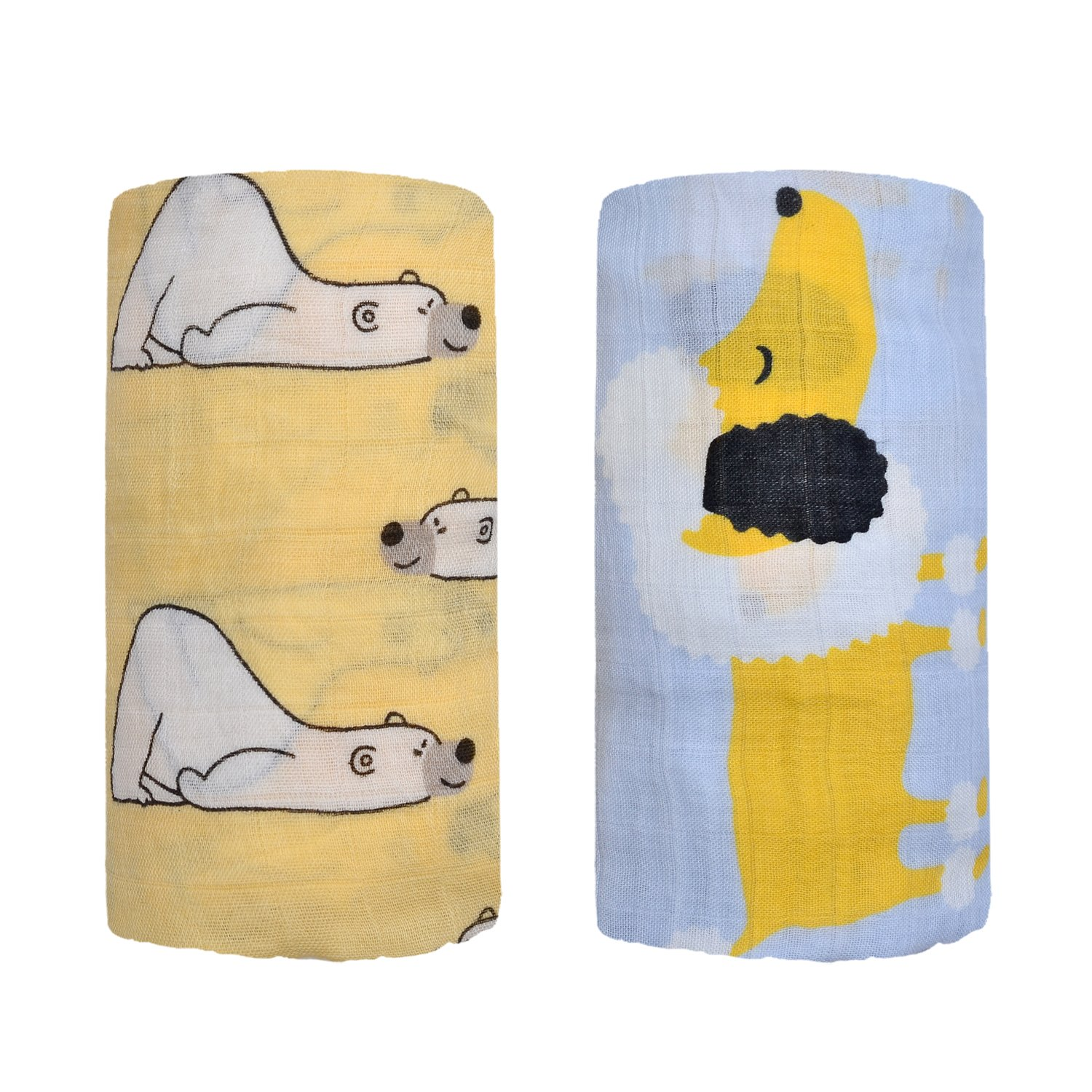Bamboo Muslin Swaddle Square Blankets 2 Pack 120x120cm Polar Bear/& Puppy Print Baby Receiving Blanket Wrap for Girl Shower Gift by Qav Juh Polar Bear/& Puppy