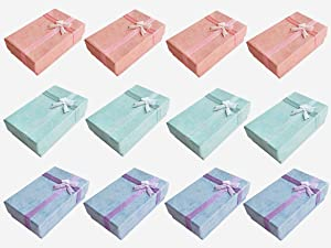 Smanzu 12 Pcs Jewelry Gift Boxes Small Cardboard Jewelry Display Box for Rings, Earring, Necklaces, Pendants (Assorted Color)