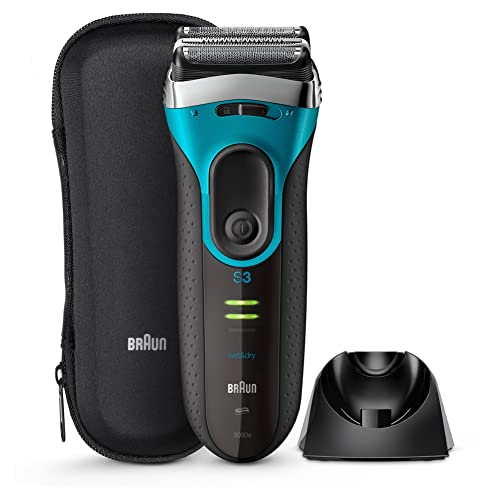 Braun Series 3 ProSkin 3080s Wet and Dry Electric Shaver for Men/Rechargeable Electric Razor, Blue (UK 2-Pin Bathroom Plug)
