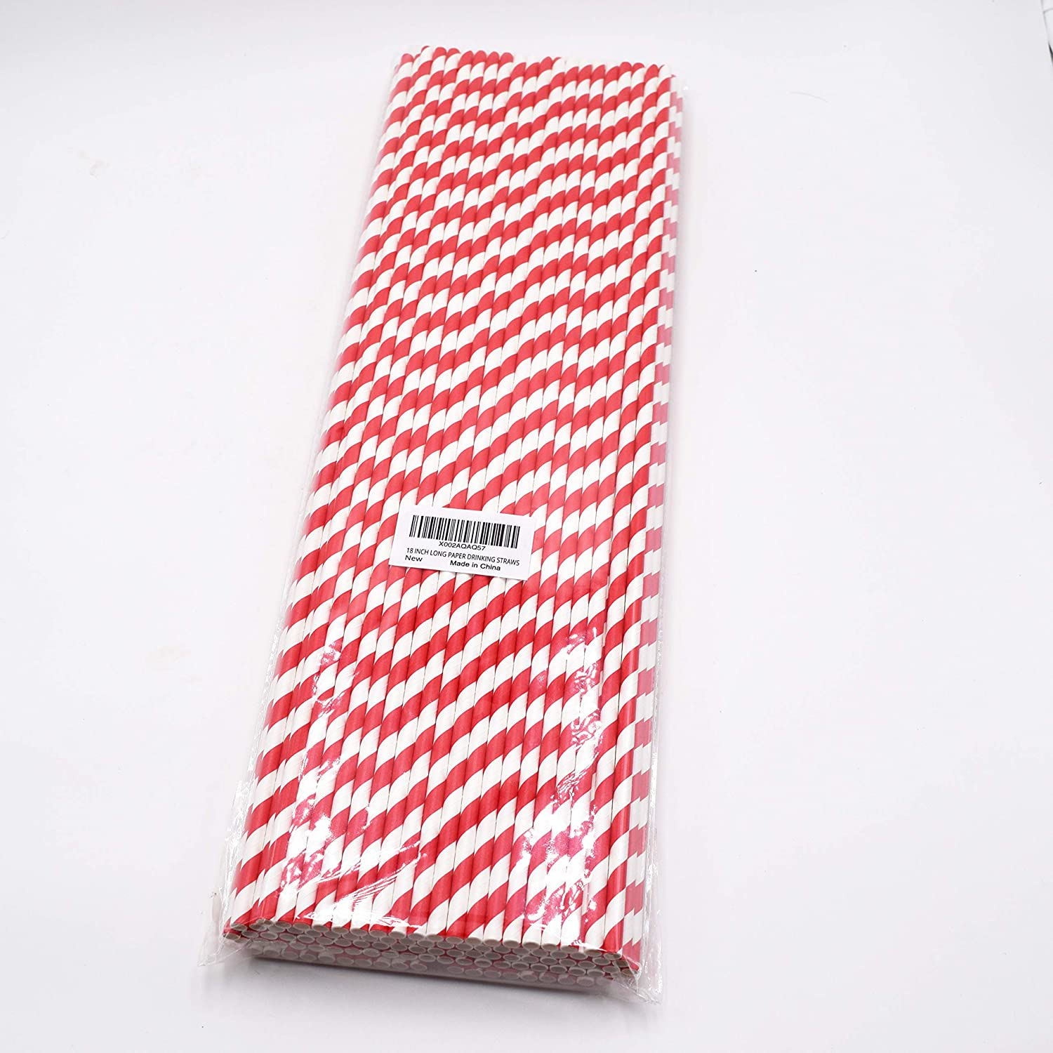 18 Inch Extra Long Paper Drinking Straws, 100% Biodegradable, Red Stripe, 100 Count, for Large Tall 100oz Drink Containers, Fish Bowls, DIY Art Straws and Many