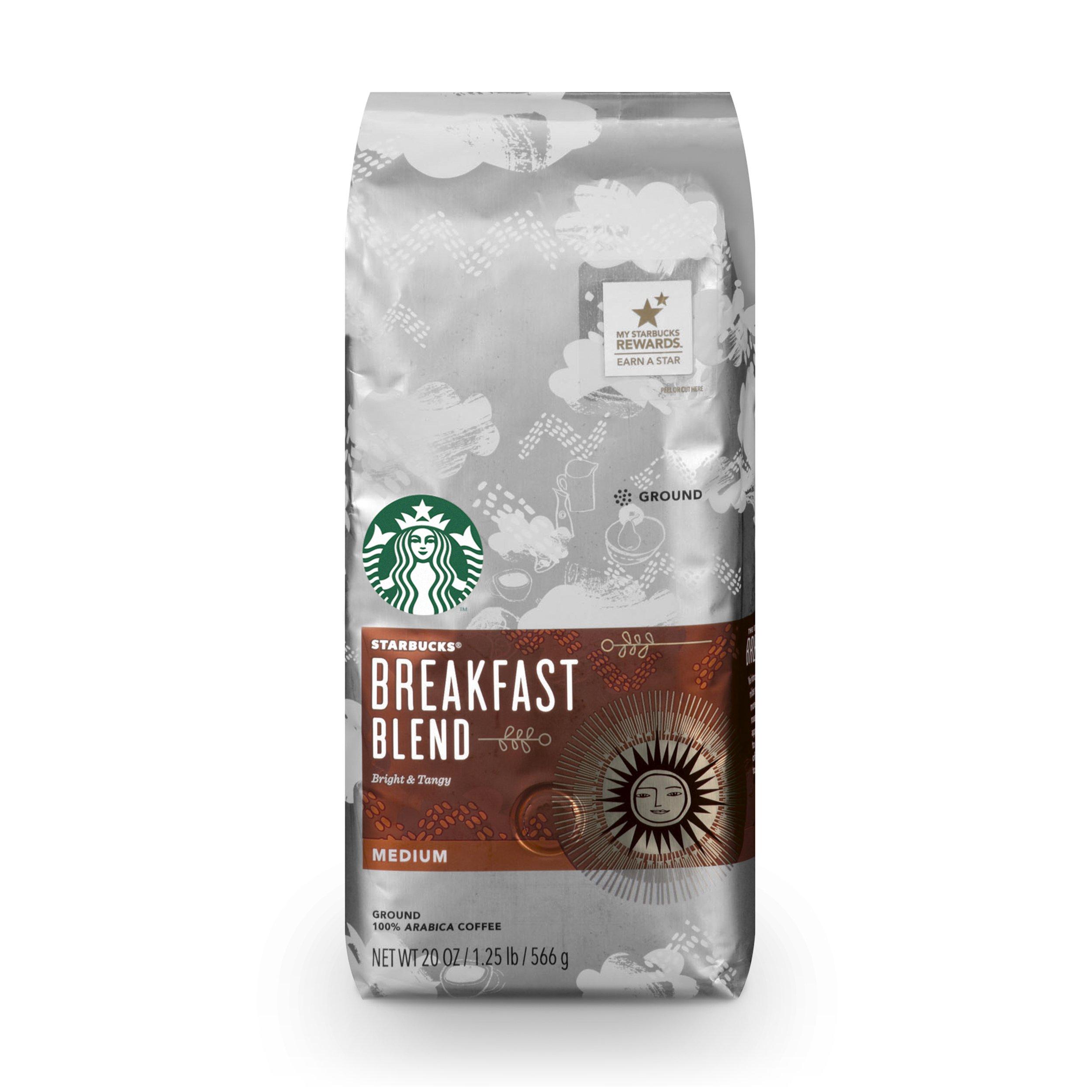 Starbucks Breakfast Blend Medium Roast Ground Coffee, 20-Ounce Bag by Starbucks