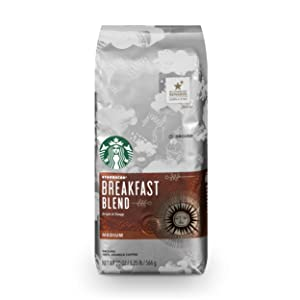 Starbucks Breakfast Blend Medium Roast Ground Coffee, 20-Ounce Bag