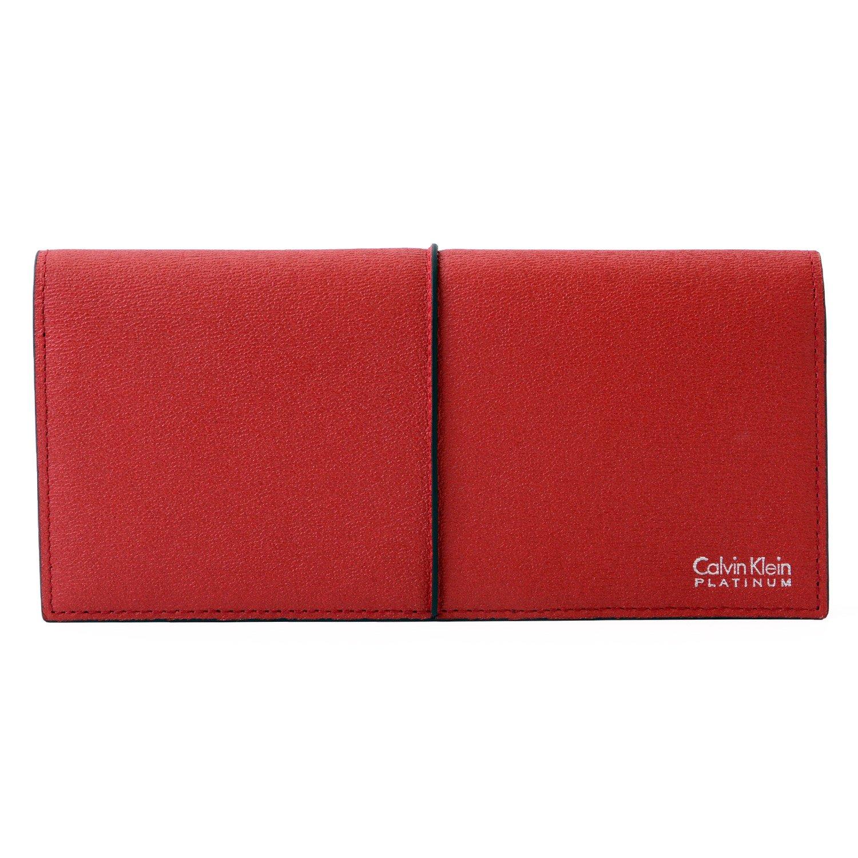 [名入れ可] カルバンクライン プラティナム Calvin Klein PLATINUM レザー ロングウォレット 本革 フラップ 二つ折り 財布 B07CHYBLKW 名入れなし|レッド レッド 名入れなし