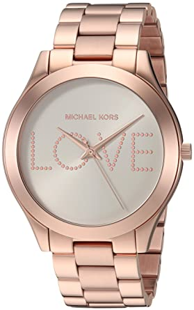2d0d833fbc7a Amazon.com  Michael Kors Women s Slim Runway Analog-Quartz Watch with  Stainless-Steel Strap