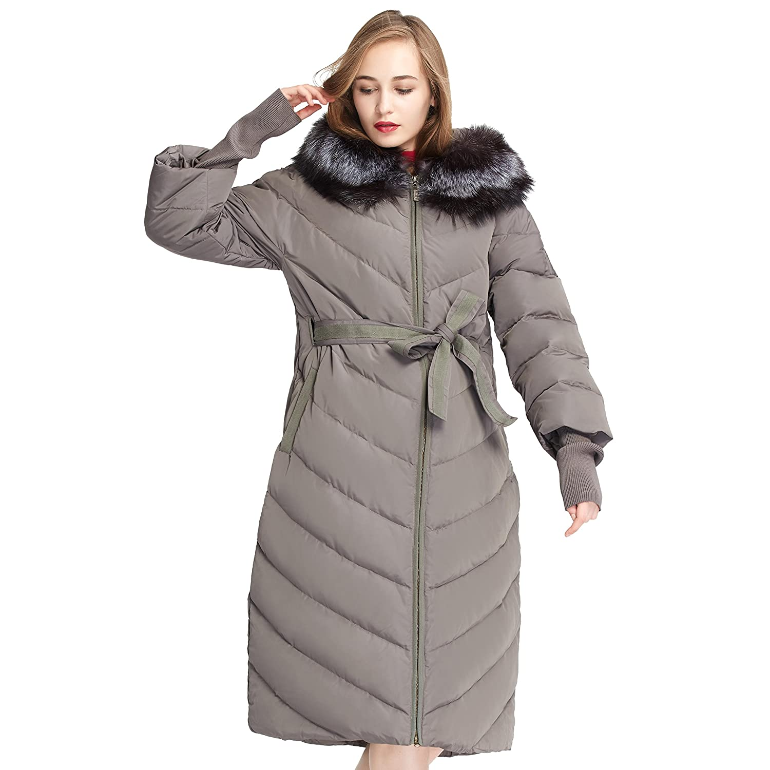Women's Winter Extra Long Down Parka with Fox Fur Hood Jacket