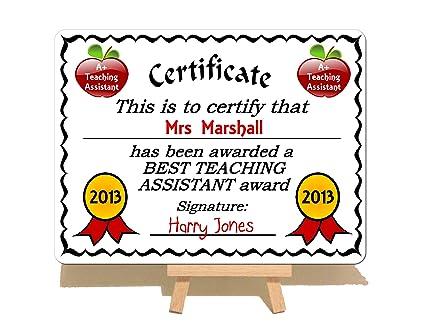 Personalised Best Teacher Award Metal Certificate Plaque