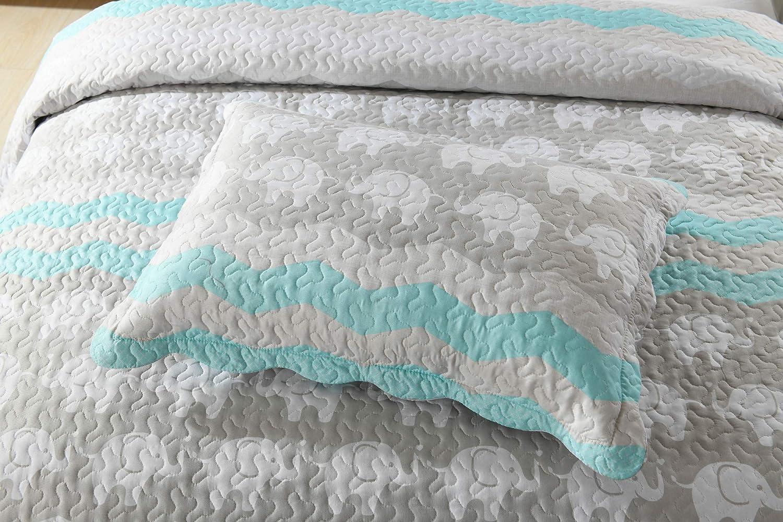 Full//Queen TT LINENS 2//3 Pcs Kids Quilt Set Lightweight Bedspread Decoration Throw Blanket Teens Boys Girls Bed Printed Bunk Bedding Coverlet Comforter Set Elephant Quilt A95