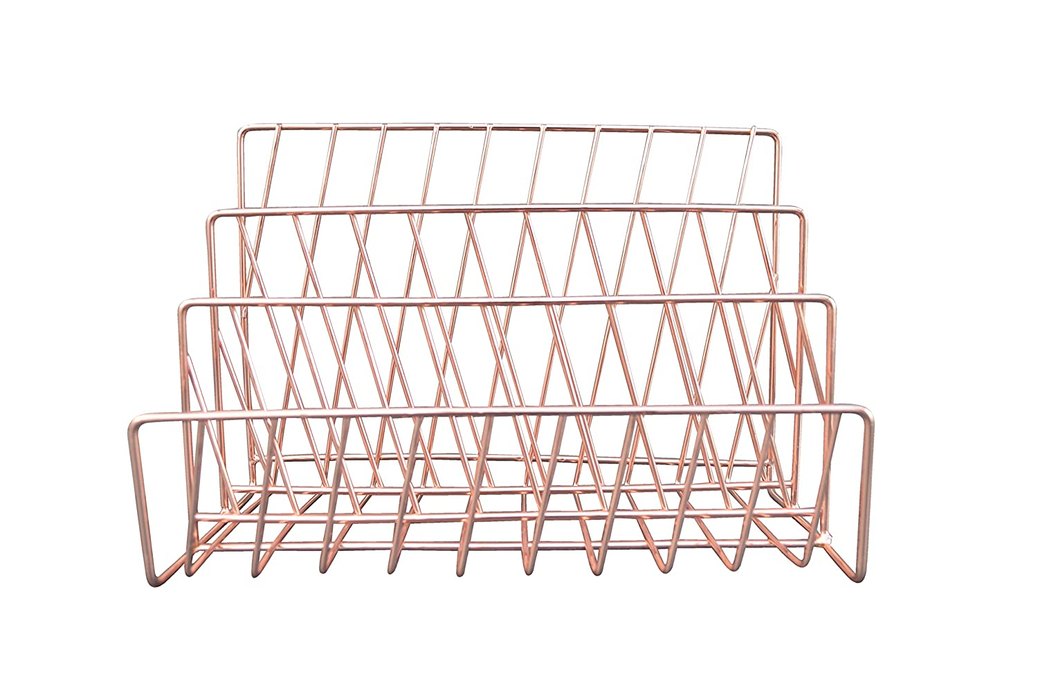 Candlelight 555871 Diagonal Lines Wire Letter Rack - Rose Gold Candlelight Products Ltd