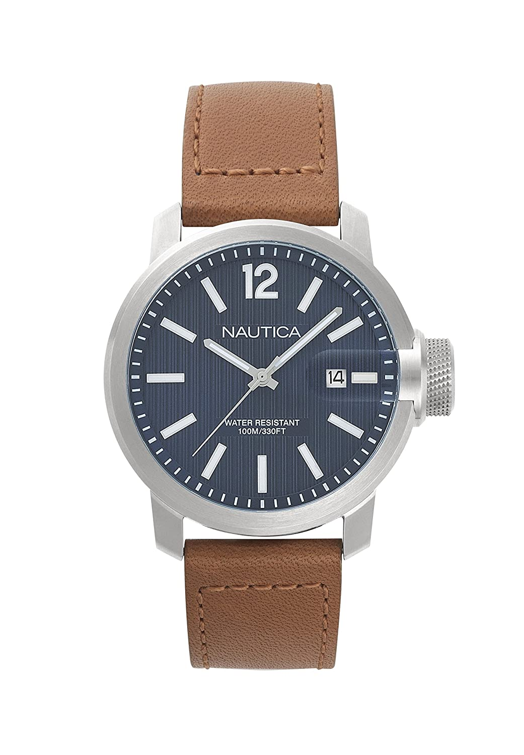 Amazon.com: Nautica Mens Sydney Quartz Stainless Steel and Leather Casual Watch, Color:Brown (Model: NAPSYD001): Watches