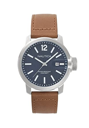 Nautica Mens Sydney Quartz Stainless Steel and Leather Casual Watch, Color:Brown