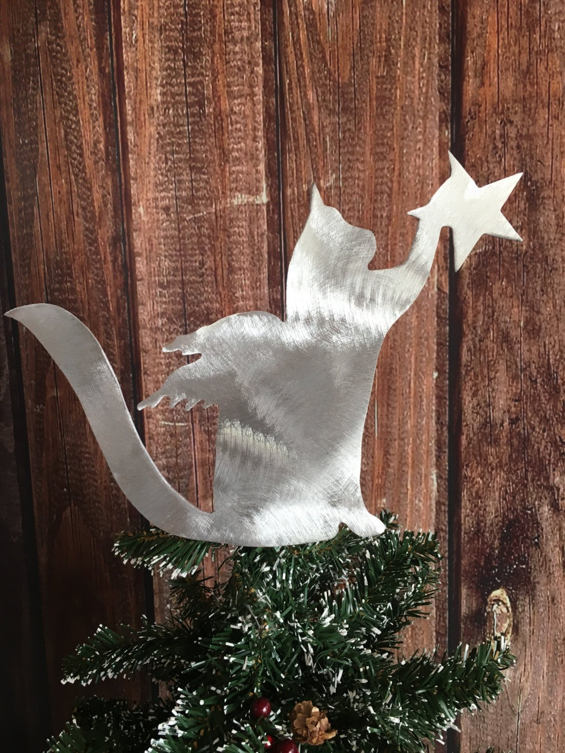 Cat, Angel Star, Kitty Cat Christmas Tree Topper, Wreath Decoration, Holiday Decoration, metal, silver, cat lover gift, lightweight