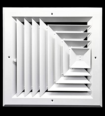 14 X 14 In Hvac Vent Cover 3 Way Extruded Aluminum Ceiling Diffuser Square Outer Dimensions 17 Width 17 Height