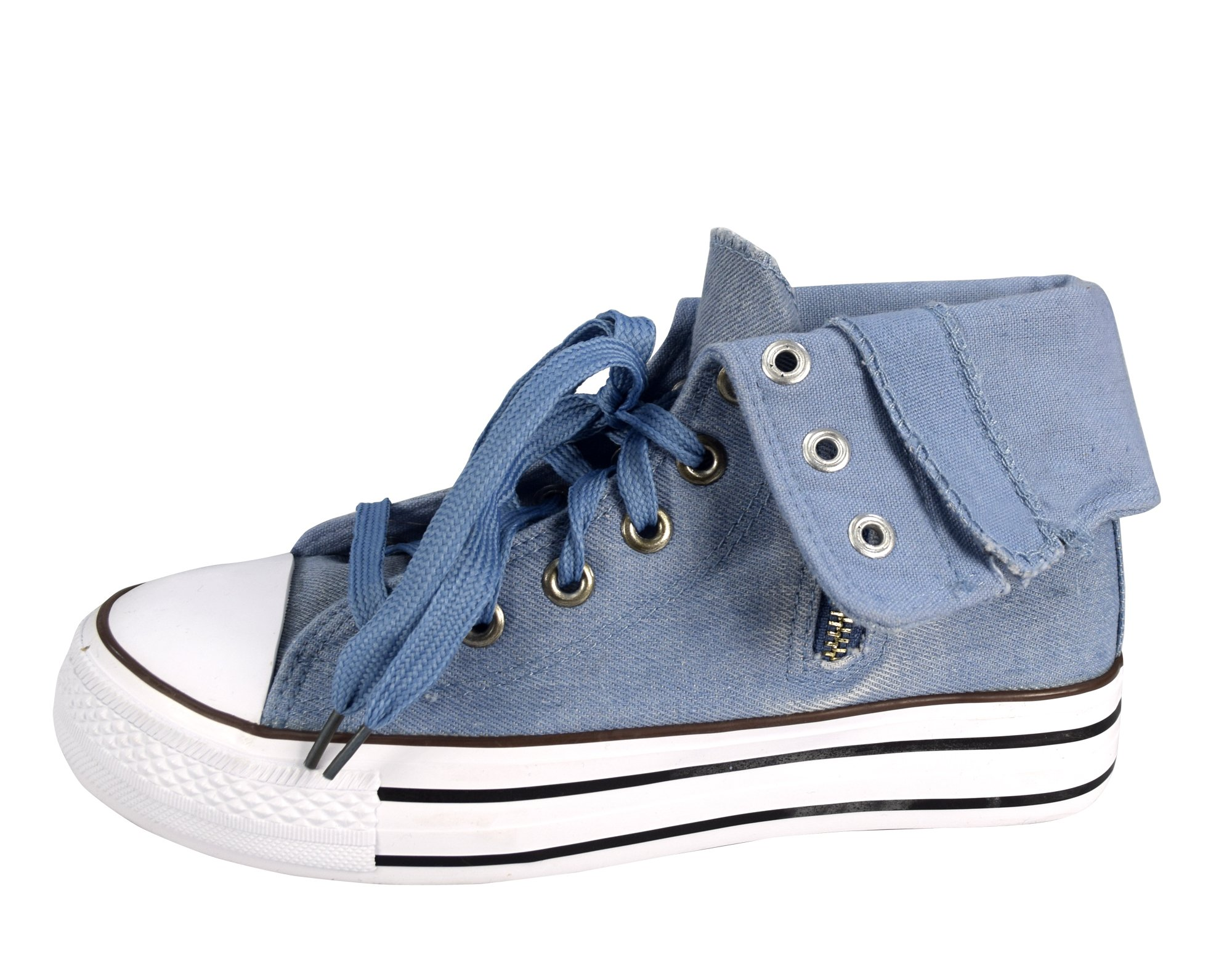 Peach Couture Taylor Fold Over Side Zipper Canvas High Top Sneaker Shoes Light Blue, 10