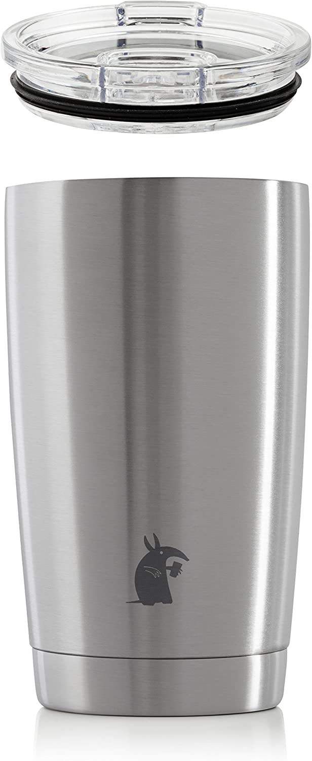 Thirsty Aardvark 16 oz Pint Tumbler, Double Wall Vacuum Insulated, Stainless Steel Silver Cup with Lid (Silver, 16 oz)