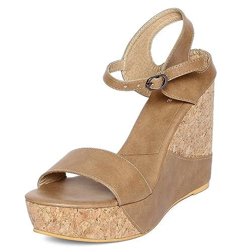 d0e4b5d5b MarcLoire Women Wedge Heels, Girls Fashion Sandals, Open Toe Wedge Sandals,  Buckle Type Platform Heels - Synthetic, Beige, Turquoise, Cream: Buy Online  at ...