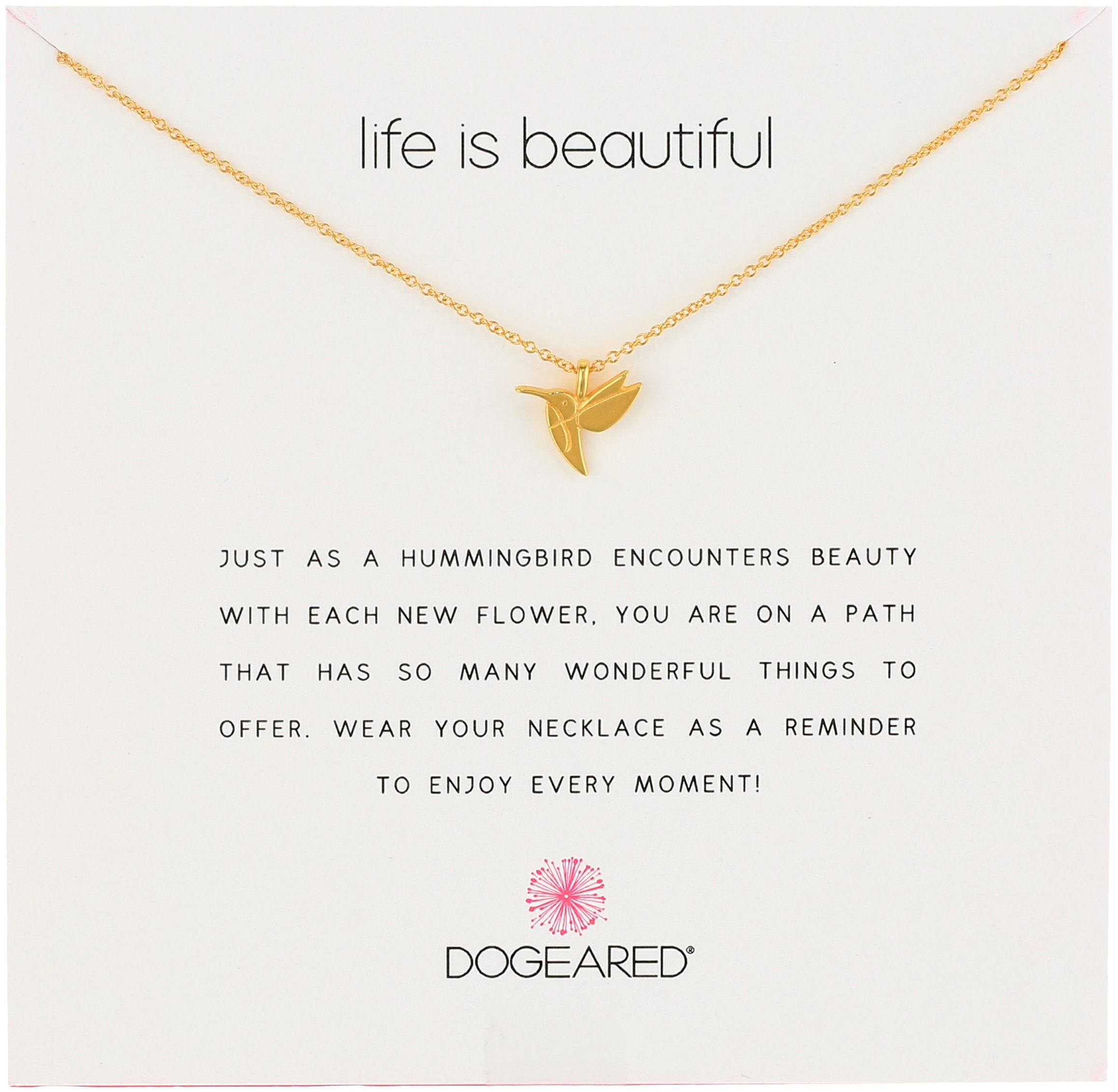 Dogeared Reminders- Life Is Beautiful Gold Dipped Sterling Silver Hummingbird Charm Necklace, 16''+2'' Extender