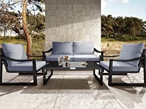 Amolife 4 Pieces Patio Furniture Set Outdoor Conversation Sets, Modern Loveseat and Chair with Dark Grey Cushions, Tea Table for Poolside, Backyard, Balcony, Garden, Blcak