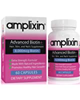 Amplixin Advanced Biotin Plus Supplement For Hair Growth, Healthy Skin & Nails - 60 Capsules