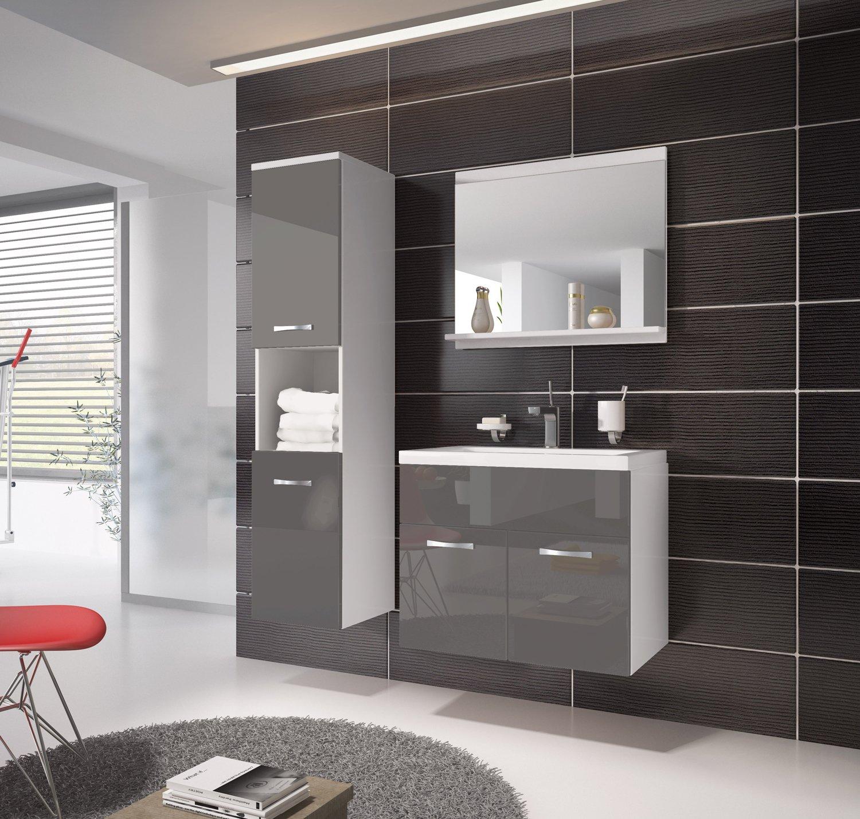 Badezimmer Badmöbel Montreal 60 Cm Waschbecken Hochglanz Grau Fronten    Unterschrank Hochschrank Waschtisch Möbel: Amazon.de: Küche U0026 Haushalt