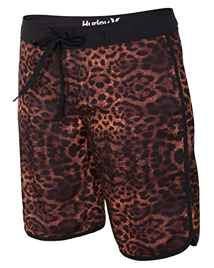 "5ef76b7bda Image Unavailable. Image not available for. Color: Hurley Women's  Supersuede Printed 9"" Beachrider Total Orange Leopard Board Shorts 0"