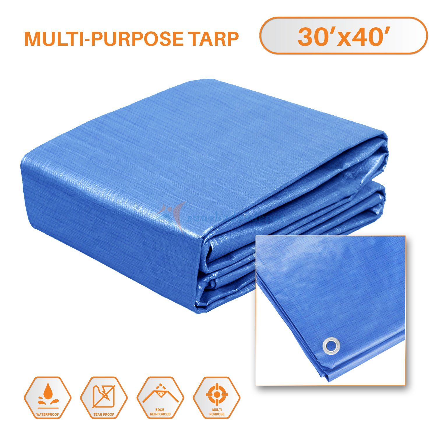 Sunshades Depot 16x20 Feet General Multi-Purpose 5 Mil Waterproof Blue Multi Purpose Waterproof Poly Tarp Cover 5 Mil Thick 8x8 Weave