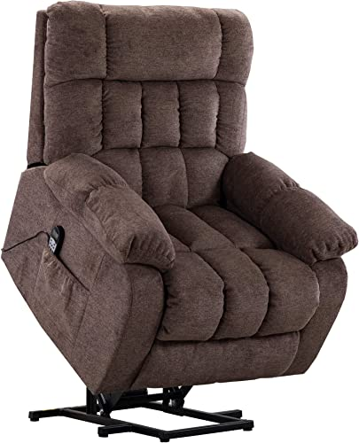 Lift Recliner Chair with Massage and Heat,JULYFOX Infinite Position Power Lift Chair Overstuffed Stand Up Lift Chair Living Room Chair Brown