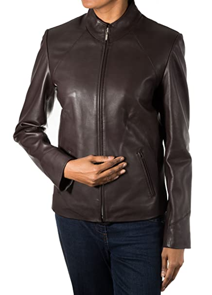 Oscuridad para mujer de color marr-n claro cl‡sico minimalista real suave de la chaqueta del motorista del cuero: Amazon.es: Ropa y accesorios
