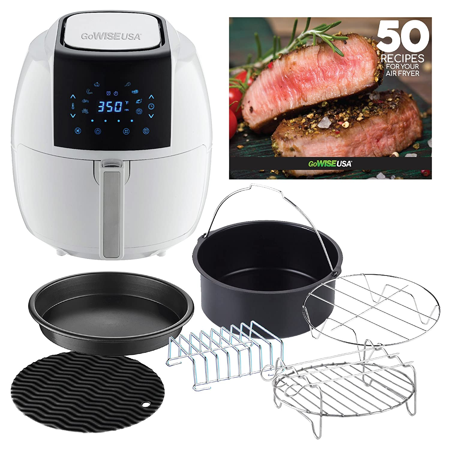 GoWISE USA 5.8-Quarts 8-in-1 Digital Air Fryer XL with 6-piece Air Fryer Accessory Kit + 50 Recipes for your Air Fryer Cookbook (White)