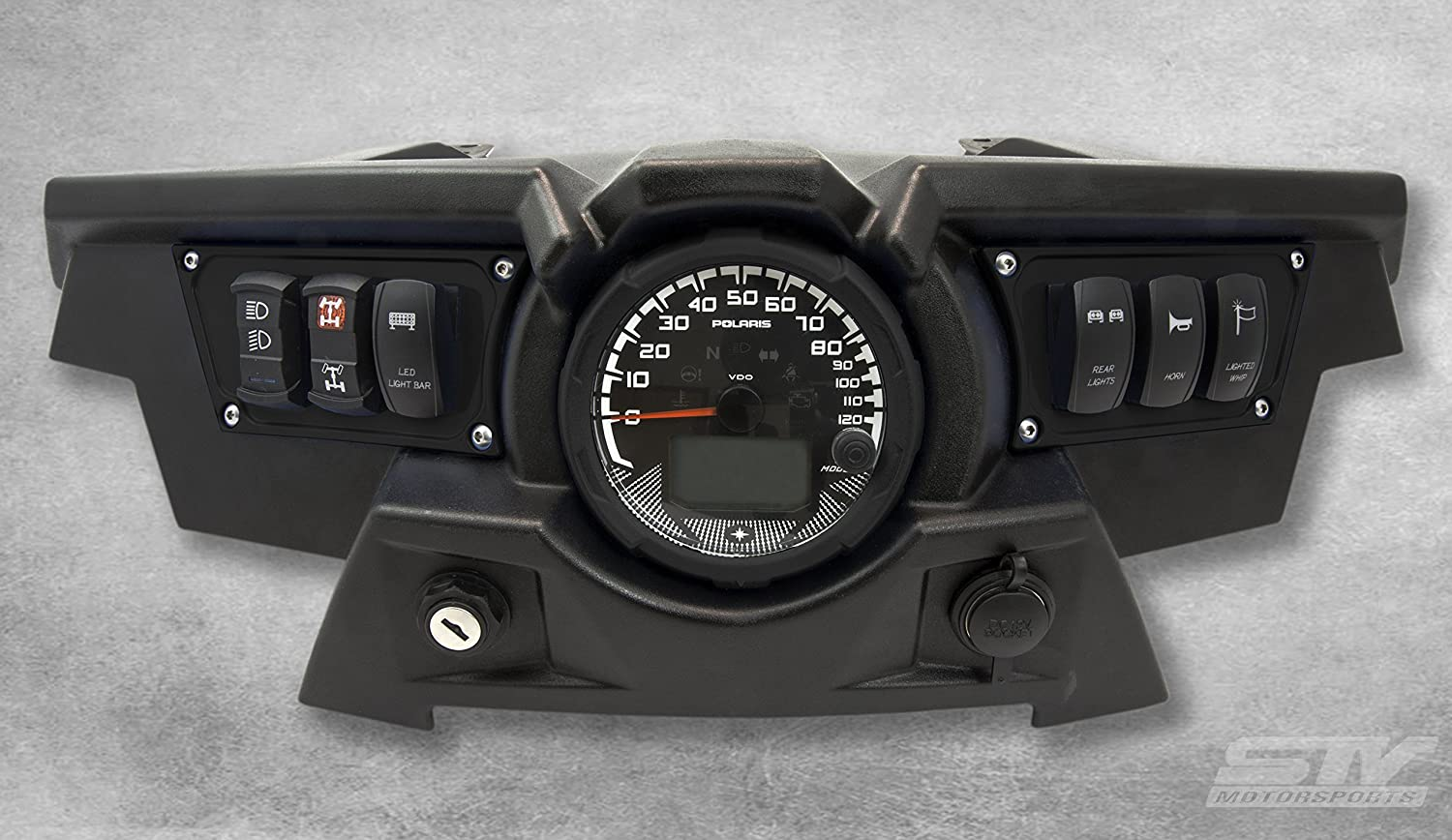 STV Motorsports Custom Aluminum Black Dash Panel for 2015-2018 Polaris RZR XP 900 with 4 Laser Rocker Switches Included