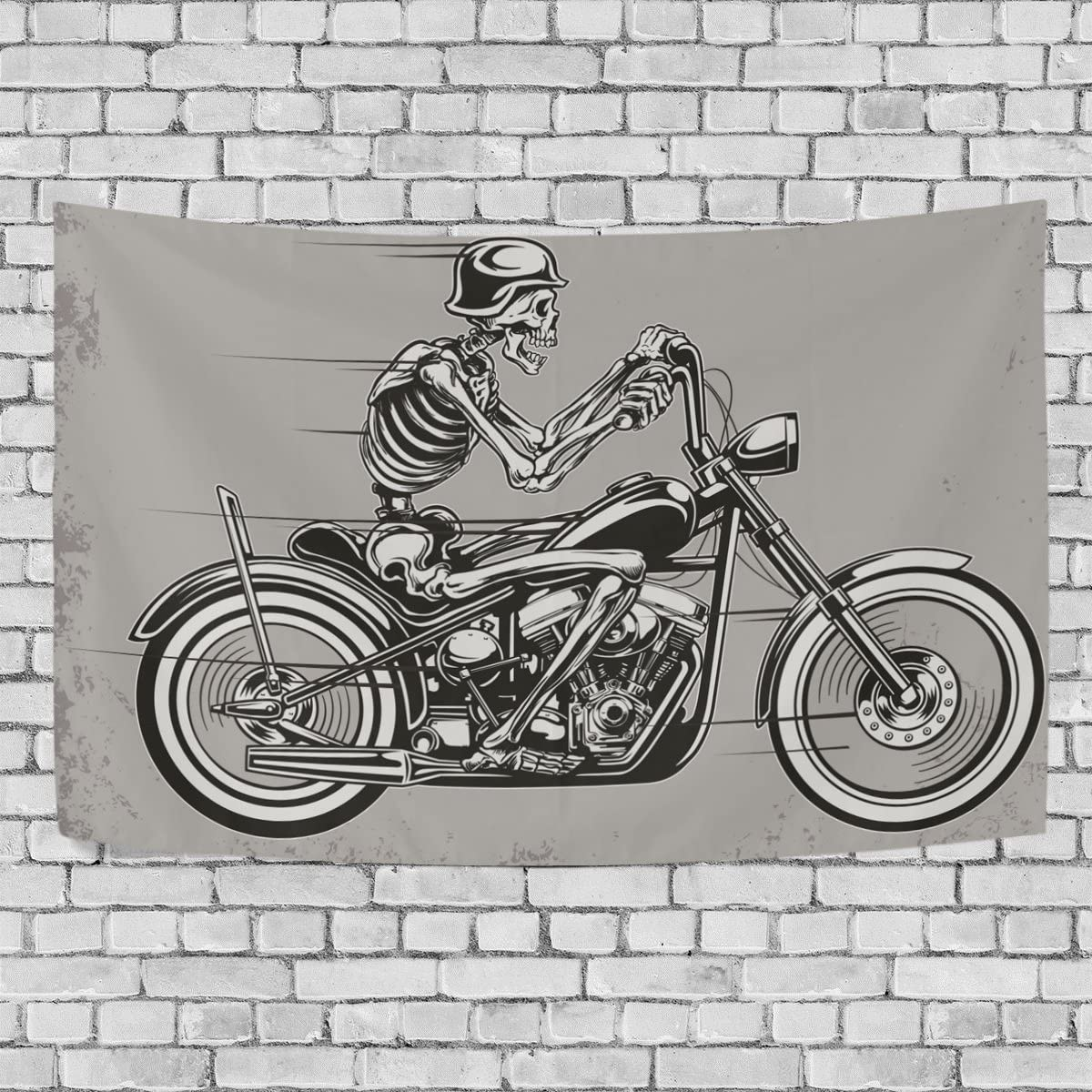 Tapestry Flag Skull Motorcycle Living Room Bedroom Dorm Home Decor Wall Hanging