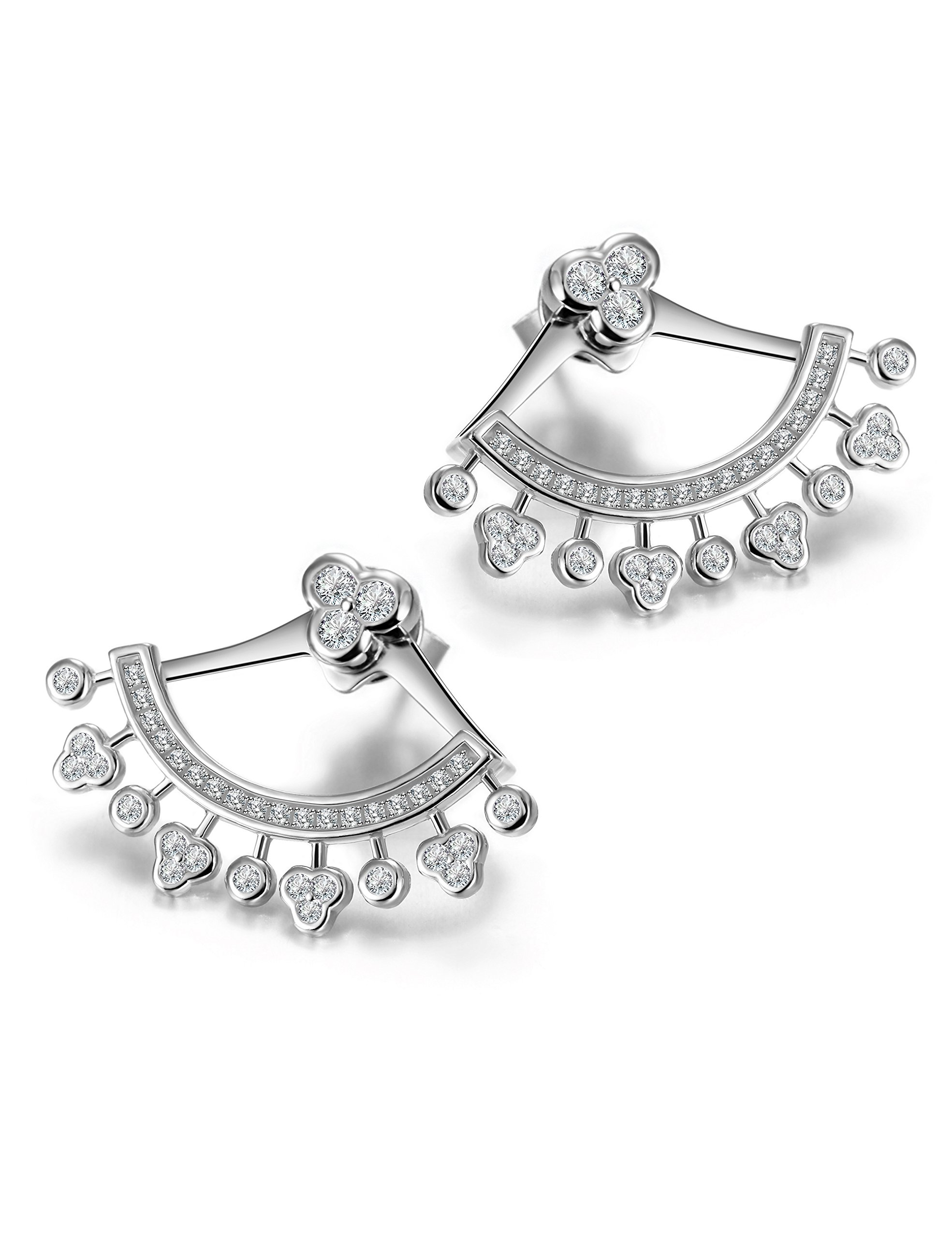 Wistic Sterling Silver Earrings with Jackets and Cubic Zircons Ear Stud Cuff for Women Girls(White) by Wistic