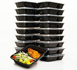 FitBoxx 32 oz Plastic Meal Prep Containers [20 pack], Plastic Food Storage Containers with Lids, 2 Compartment To Go Containers, Portion Control Containers, BPA Free