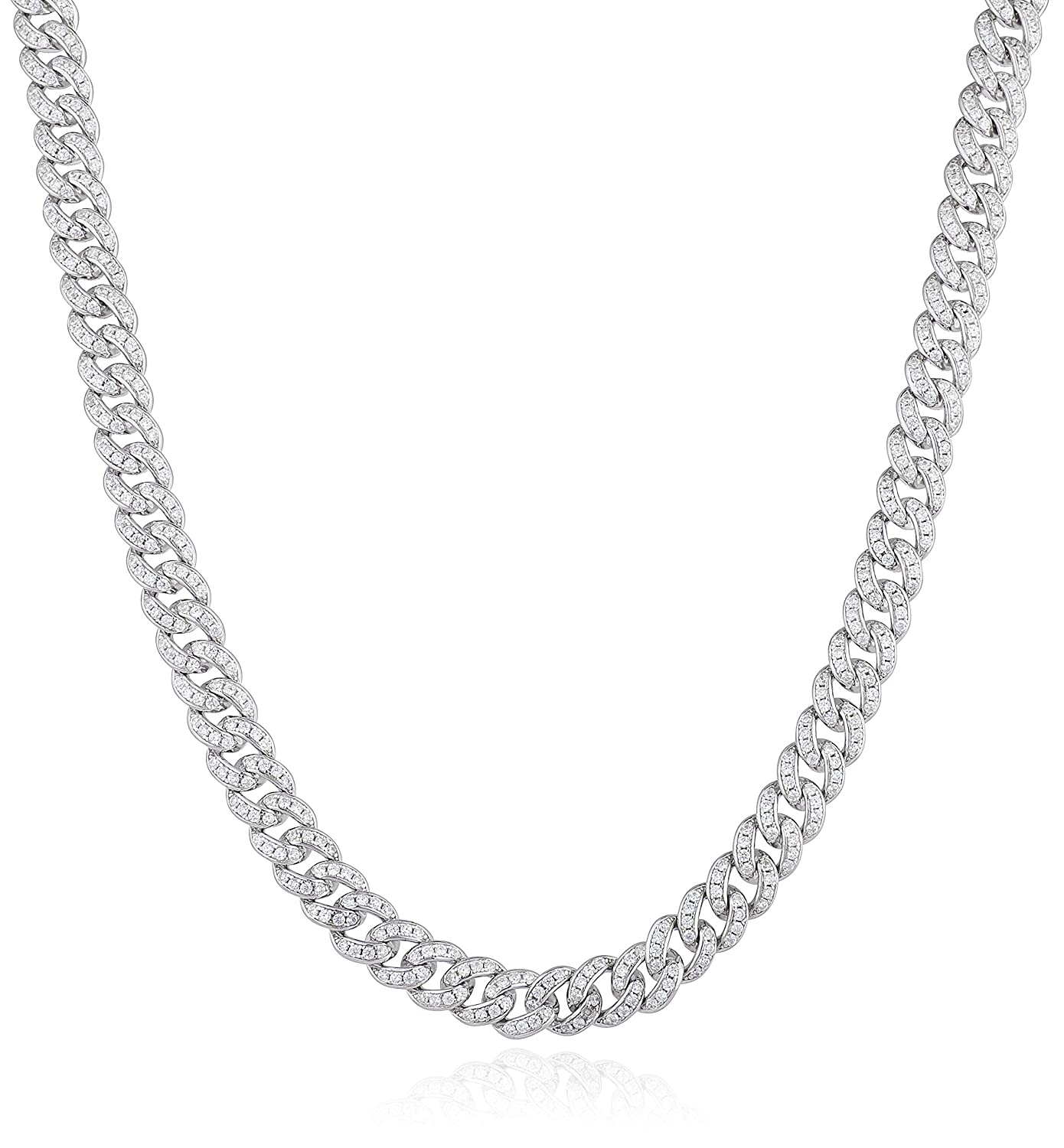 JOTW Sterling Silver Rhodium Plated 8.9mm Miami Cuban Curb Chain Necklace Men 20 24