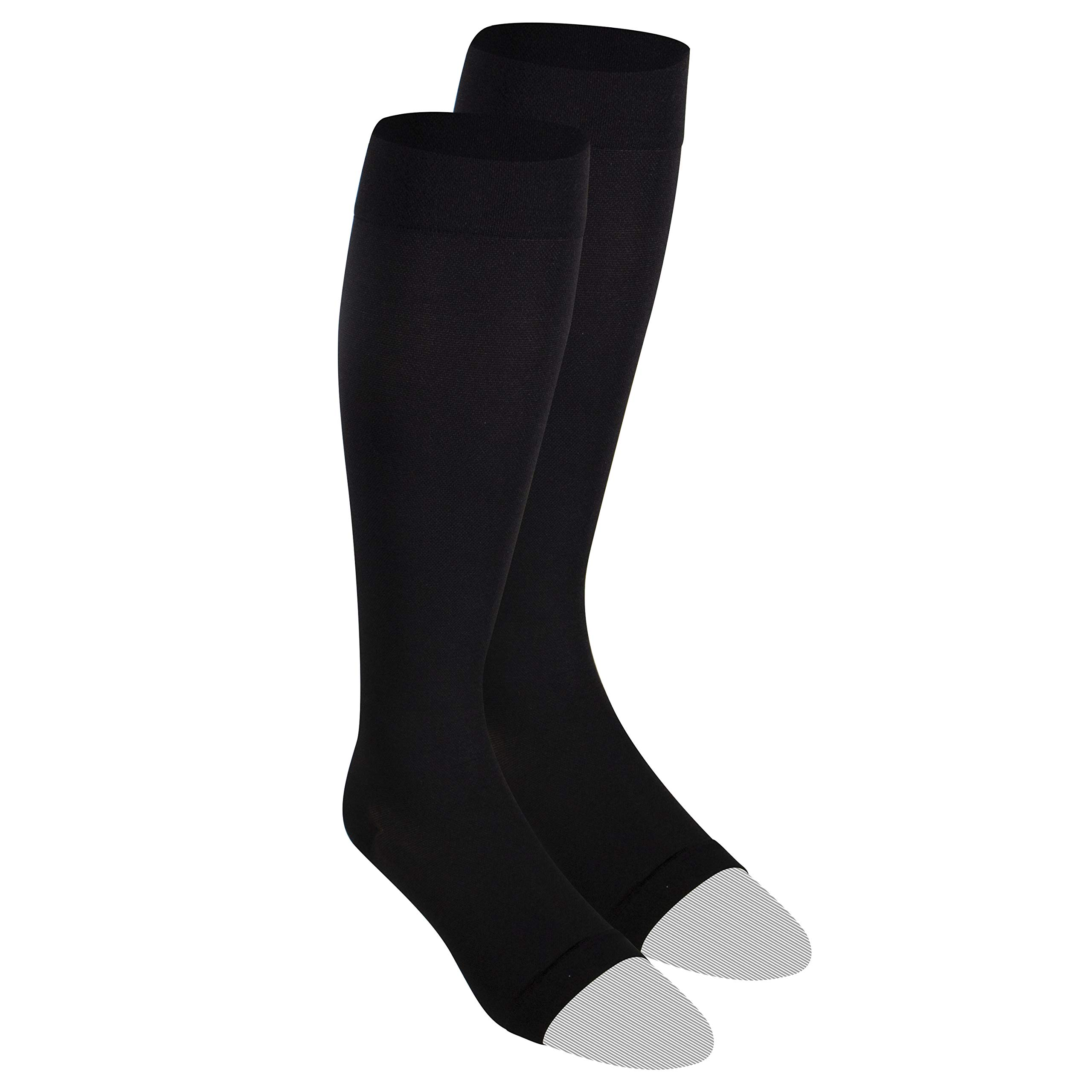 Nuvein Compression Socks for Women and Men, Medical Support Stockings, Black (Open Toe), X-Large (20-30 mmHg)