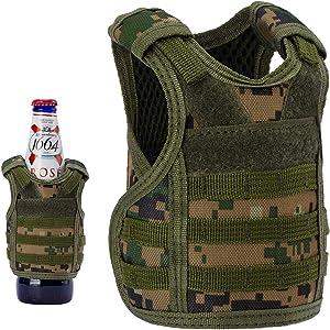 Lightbare Mini Tactical Vest Bottle Beer Vest Molle with Adjustable Straps, Beverage Holder for 12oz or 16oz Cans and Bottles, 7 Colors