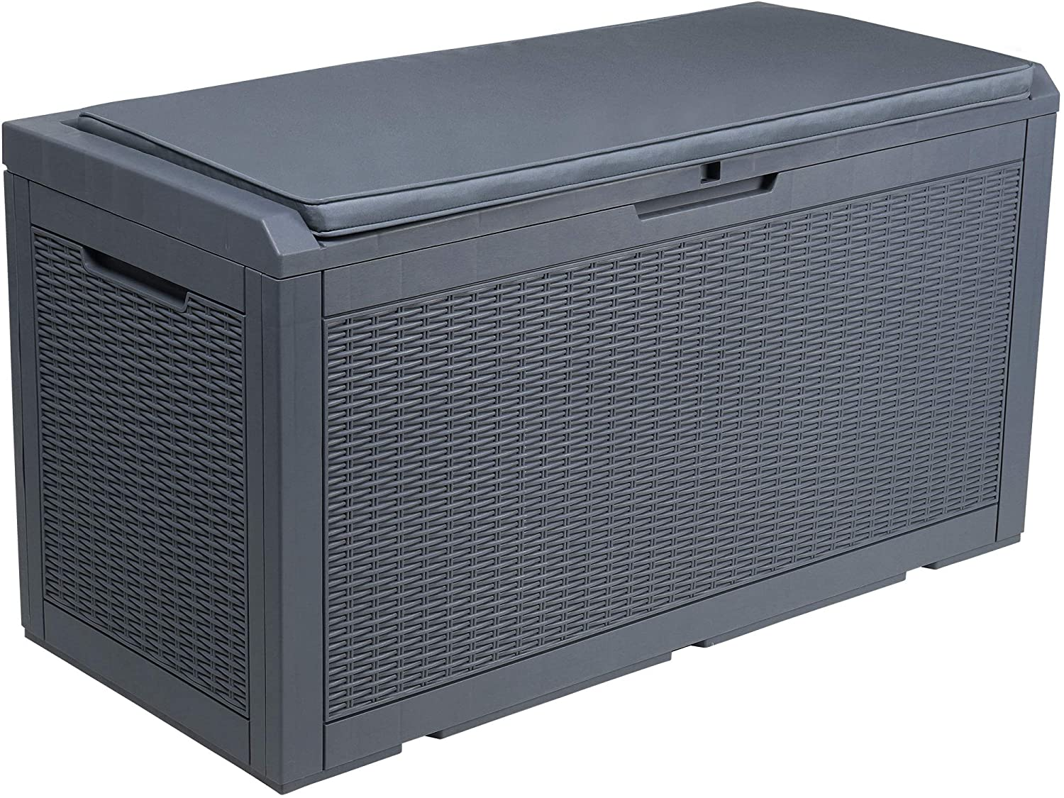 YITAHOME 100 Gallon Large Resin Deck Box Indoor Outdoor Storage with Cushion for Patio Furniture, Outdoor Cushions, Garden Tools and Pool Toys (Dark Grey)