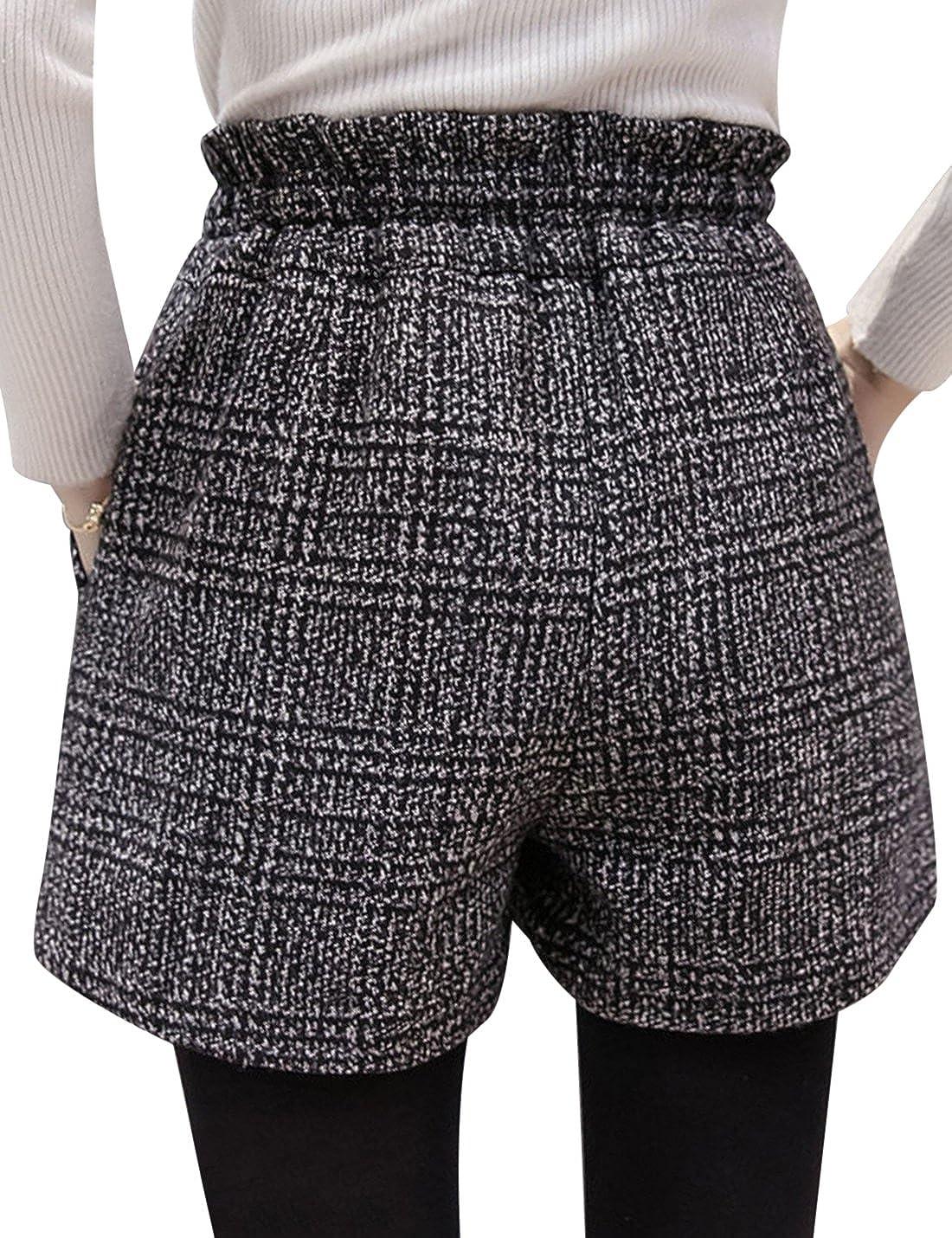 Tanming Womens Thick Elastic Wait Check Plaid Shorts